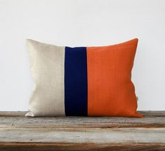 Orange Spice Colorblock Pillow with Navy and Natural Linen Stripes by JillianReneDecor (12x16) Modern Home Decor Stripe Trio Tangerine Koi on Etsy, $55.00