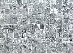 Line Textures - could use this idea as a 'challenge' for the kids at school using 2cm grid paper, how many textures can you create?