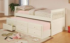 La Salle Twin Captain's Bed with Trundle and Storage Drawers White La Salle Twin Captain's daybed is made for resting or entertaining. Pull out the trundle and two people can rest or stay up all night talking. White Daybed With Trundle, Full Size Daybed, Twin Daybed With Trundle, Daybed With Storage, Under Bed Storage, Trundle Beds, Storage Beds, Bedroom Storage, Beds For Small Spaces