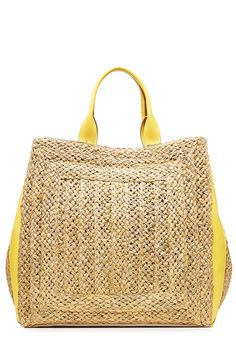 Straw Tote with Leather detail 0