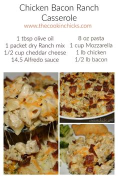 A flavorful casserole packed with chicken, crumbled bacon, and pasta! Family approved and the #1 recipe on my blog!