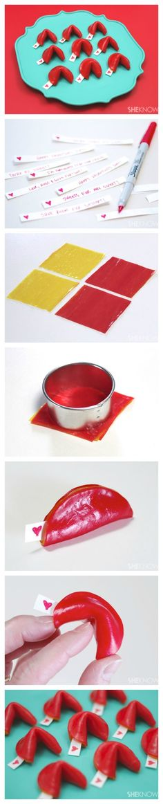 SheKnows: Fruit Roll-Up Fortune Cookie Valentines {Step-By-Step} I can fold fondant the same way Valentines Food, Valentine Treats, Valentine Day Crafts, Funny Valentine, Be My Valentine, Holiday Treats, Holiday Fun, Bonbon Caramel, Fruit Roll Ups