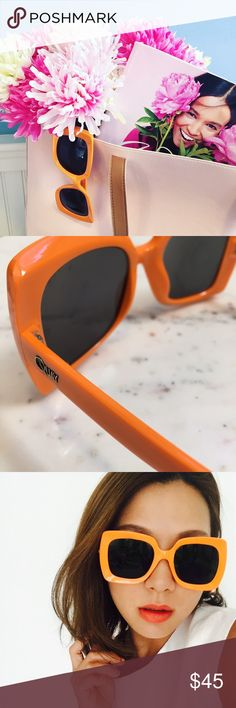 """HPx2 NWT Quay OMG Pinch Me Sunglasses, Orange These authentic OMG Pinch Me sunglasses by Quay are orange with black lenses. They have a width of 6"""" & a height of 2.5"""". The frames & lenses are polycarbonate, while the hinges are stainless steel. They offer 100% UV protection. There are no scratches. One arm is a bit wiggly. New with tags.   1 & 2 : ericarose1989  3 : Stylegal  4 : Unique-Vintage  HP 8.23.16 {Style Crush Party} @gigilavie  HP 8.24.16 {Girly Girl Party} @astyleaddict Quay…"""