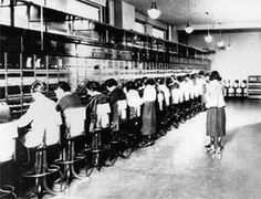 early telephone operators on skates