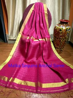 Matka with sequins in pallu 4999+$ Order what's app 7093235052