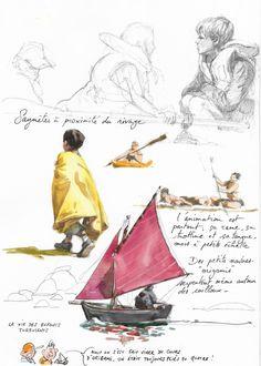 By Yann Lesacher Travel Sketchbook, Watercolor Sketchbook, Art Sketchbook, Watercolor Print, Watercolor Illustration, Kunst Online, Learn Art, Doodle Sketch, Sketchbook Inspiration