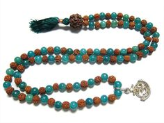 Lucky Mala Beads Hope Stone Amazonite Rudraksha Prayer Mala Heart Throat Chakra 108+1