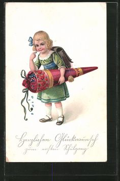 """carte postale ancienne: CPA """"Herzlichen Glückwunsch zum ersten Schulgang"""", Fille avec roter Zuckertüte et Schulranzen"""