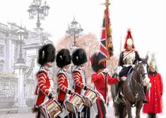 Trademark Fine Art 'Changing Of The Guard' Canvas Art by The Macneil Studio, Size: 35 x Red Artwork Display, London Art, Western Art, Artist Canvas, Canvas Art Prints, Framed Canvas, Framed Prints, Illustration Art, Illustrations