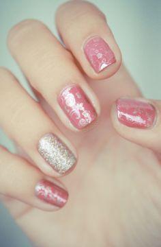 Vintage nail design {Essie All Tied Up, China Glaze I'm not Lion, konad stamping plate m71, M73, m65, and Bundle Monster BM20}