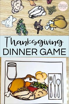This Thanksgiving food themed game is a fun way to learn about Thanksgiving dinner foods. It is great for turn taking for younger students. It's also a great game to pair with drill work during speech therapy sessions. Kids love creating a dinner plate with all of the traditional Thanksgiving food choices. This game is appropriate for preschool, kindergarten and elementary students. Fun for preschool and kindergarten centers. Can be used with EL students and special education. Fun Game for kids!