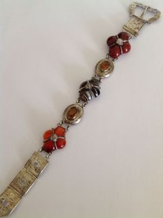 Stunning Antique Scottish Polished Agate & Citrine Panel Belt Buckle Bracelet
