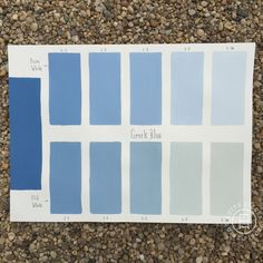 Chalk Paint® Greek Blue Custom Color Chart using Pure White and Old White. Read more on our blog at Suitepieces.com | Suite Pieces