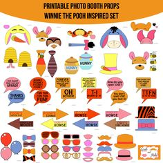 Instant Download Winnie the Pooh Inspired Printable Photo Booth Prop Set — Amanda Keyt DIY Photo Booth Props & More!