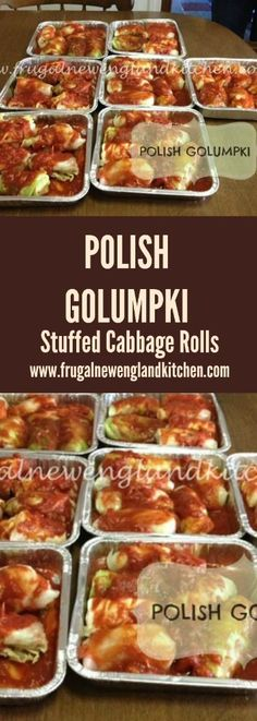 Polish Golumpki Stuffed Cabbage Rolls Recipe - Frugal New England Kitchen Recipes - Delicious dessert Vegetable Recipes, Meat Recipes, Gourmet Recipes, Cooking Recipes, Healthy Recipes, Polish Food Recipes, Casserole Recipes, German Food Recipes, Cooking Rice