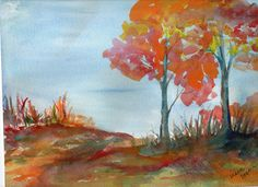 Original Fall Watercolor Landscape Painting  9 by 12. $25.00, via Etsy.