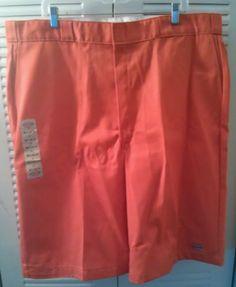 Dickies Men Multi-Pocket Work Shorts Loose Fit Orange Size 42 NWT