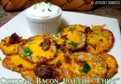 """Cheddar Bacon Potato """"Chips"""" ... I can't tell ya how scrumptious these are!  And, so easy!  Perfect party food and great for cozy evenings in while watching a movie!  All done using one baking sheet and little effort!"""