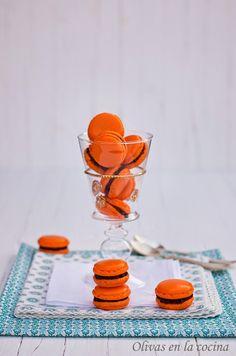 Olivas en la cocina: Macarons de naranja con Ganache de chocolate negro