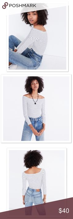 "Madewell Striped Ribbed Bodysuit Seriously soft and holds-you-in stretchy, this ribbed bodysuit closes with three rows of snaps at the bottom for an adjustable fit. With its sexy off-the-shoulder neckline and easy stripes, this is one to wear with jeans and skirts alike (no tucking necessary).  Fabric Content: 86% viscose, 14% elastane Color: Blue/Cream Size: M Measurements: Approx 15"" across underarms  Approx 19.5"" neckline to to front snaps Madewell Tops"