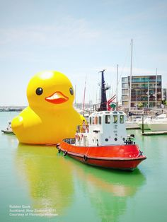 """Titled Rubber Duck, this 16.5 high floating wonder is conceived by Dutch conceptual artist, Florentijn Hofman. The duck represents a work """"with no frontiers, discrimination, or political connotation.""""..."""