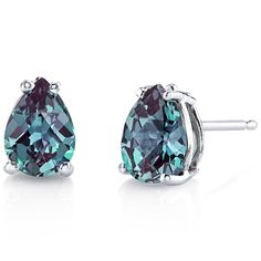 14 kt White Gold Pear Shape 1.75 ct Lab. Alexandrite Earrings E18568. $140