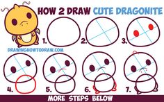 Drawings Easy How to Draw Cute Dragonite (Chibi / Kawaii) from Pokemon Easy Step by Step… - Today I will show you how to draw a cute little Dragonite from Pokemon and Pokemon Go. This cute Dragonite is in a Kawaii / Chibi style and is super easy to draw. Cute Easy Drawings, Kawaii Drawings, Cartoon Drawings, Kawaii Doodles, Kawaii Chibi, How To Draw Steps, Sketchbook Drawings, Simple Cartoon, Art Prompts