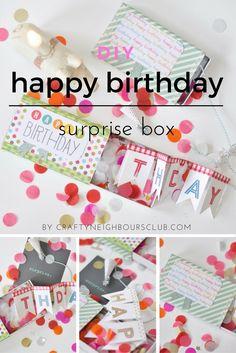 Ein tolle Überraschung zum Geburtstag ist unsere Surprisebox mit selbstgemachter Girlande. DIY auf dem Blog.