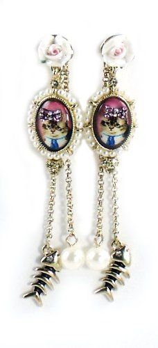 Betsey Johnson Jewelry VINTAGE KITTY Cameo Linear Earrings Betsey Johnson,http://www.amazon.com/dp/B00H5DOZ56/ref=cm_sw_r_pi_dp_okWltb18BPD402YH