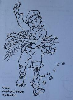 Brincadeiras no jardim - Ilustração: Joseph Franz Seraph Lutzenberger cedida por Lilly Lutzenberger