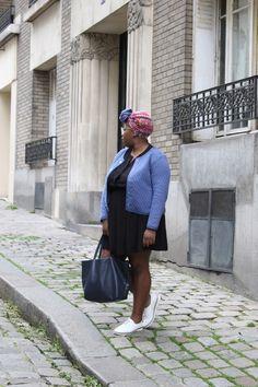 Collection Printemps Eté 2016- Total look Balsamik porté par Nathalie du blog The crazy Soprane. Robe : 4545864, veste : 4537993, derbies en cuir : 4588393, sac : 4600822, foulard coloré : 4599697