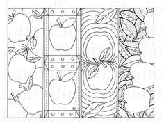Printable Bookmarks to Color | Apple Bookmarks, Back to School Printable, Fall Coloring Pages, Autumn ...