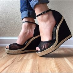 Trendy New Elle black mesh wedge size 9 Love these wedges. Brand new, I had to get a size up. Black mesh on the toe and black suede like material on the heel. Please note: I lightened the pic so the shoes showed the mesh and the heel. Not faded at all! #elle #blackwedges #meshheels #blackmesh Elle Shoes Wedges