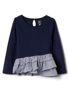 69bc7ec09 Gap Baby Asymmetrical Mix-Fabric Top New Navy Toddler Girl Style, Toddler  Girl Outfits