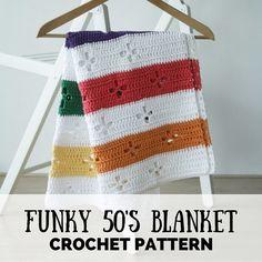 Funky fifties retro blanket: crochet pattern (PDF), retro blanket crochet pattern, crochet blanket pattern, retro crochet blanket by SoHappyInRed on Etsy https://www.etsy.com/uk/listing/241206063/funky-fifties-retro-blanket-crochet