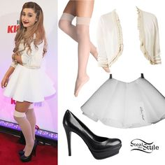 Ariana Grande: Scalloped Cardigan Outfit