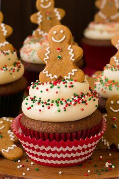 only way to finish off these gingerbread cupcakes? With a gingerbread man cookie, of course! only way to finish off these gingerbread cupcakes? With a gingerbread man cookie, of course! Holiday Cupcakes, Holiday Desserts, Holiday Baking, Christmas Baking, Holiday Appetizers, Christmas Cupcakes Decoration, Christmas Biscuits, Holiday Cookies, Cupcake Recipes