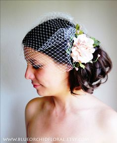 Fascinator/birdcage veil set - Head piece of tea-stained pink ruffled flowers with faux berry and velvet leaves, and ivory single-comb birdcage veil.