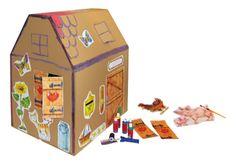 #Kartonhaus von #joyPac®. ● Zum #Basteln und #Gestalten. ● Das #KARTON HAUS entsteht mit wenigen Handgriffen und lässt sich ganz individuell verzieren. ● Aufgestelltes Format: 76 x 60 x 90 cm ● #Wellpappe ● #Karton, #Kreativ, #Spielen, #Dinkhauser Kartonagen