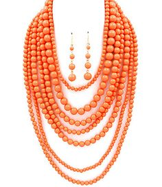 Linda Natalie Jewellery Coral Multi-Strand Statement Necklace $39