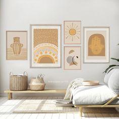 Digital Art Set Boho Decor Set of 5 Prints Living Room Boho Living Room, Living Room Decor, Cuadros Diy, Crochet Lion, Décor Boho, Room Wall Decor, Minimalist Decor, Minimalist Office, Art Furniture