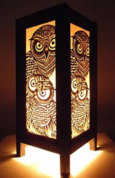 Thai Vintage Handmade Asian Oriental Handcraft Night Owl Bird Bedside Table Lights or Floor Wood Paper Lamp Home Decor Bedroom Decoration Modern Design from Thailand Red berry Thailand Lanna Lamp Owl Home Decor, Asian Home Decor, Handmade Home Decor, Home Decor Bedroom, Paper Lampshade, Owl Crafts, Owl Bird, Owl House, Diy Home