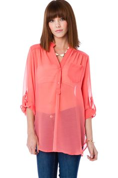 ShopSosie Style : Pure Chiffon Blouse in Coral