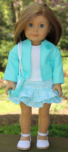 American Girl Doll Clothes-Blue Jacket, Ruffled Skirt, Tank Top and Totebag
