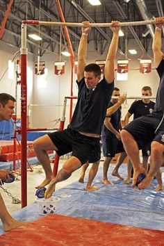 Delta firefighters take part in Delta Gymnastics' third annual Sport Showdown, Sunday afternoon. Teams competed in eight events and all proceeds go to purchasing needed equipment for the facility.