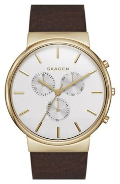Skagen 'Ancher' Chronograph Leather Strap Watch, 40mm (Nordstrom Exclusive) available at #Nordstrom
