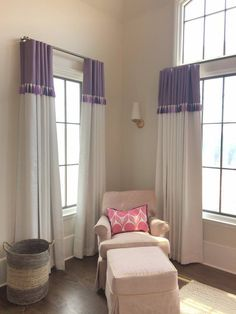 Custom Banded Drapery Panels with Trim - Decor Style Drapes And Blinds, Home Curtains, Drapery Panels, Velvet Curtains, Cortinas Country, Rideaux Design, Beautiful Curtains, Custom Drapes, Atlanta Homes