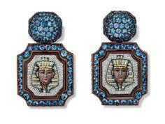 Hemmerle Nefertiti earrings. Copper, white gold, antique micro mosaic, blue sapphire.
