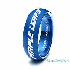 9291bde14 Blue Tungsten Band Ring Mens Womens Ring NHL Hockey Toronto Maple Leafs  Ring Birthday Anniversary Gift