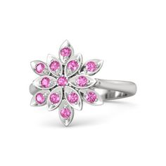 Exclusive Design Pink Sapphire White Gold Over 925 Sterling Silver Cluster Ring #eightyjewels #Cluster #AnySpecialDay